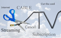 Cable tv cord cutting Royalty Free Stock Photos