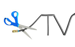 Cable tv cut. Scissors cutting through a TV shaped coaxial cable Royalty Free Stock Image