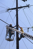 Cable TV Linemen. At work Stock Photography