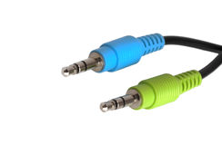 Cable with two connectors for the sound card Stock Images