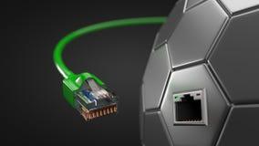 Cable verde de Internet y eje hexagonal de la tecnología el ejemplo conceptual 3d del cable de Ethernet y rj-45 tapan Imagenes de archivo