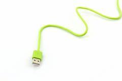Cable verde del USB para el smartphone Fotografía de archivo libre de regalías