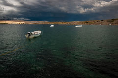 Cable wakeboard park before storm Royalty Free Stock Images