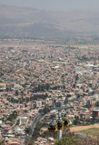 Cable way above cochabamba in bolivia stock photos