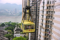 Cable way across the Yangtze River, China. Stock Photography