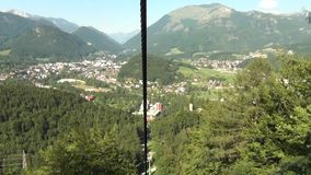 Cable way in alps stock footage