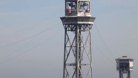 Cable-way in Barcelona stock video