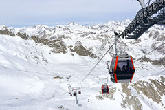 Cable way car. & x22;Presena& x22; in ski resort Passo Tonale , Trentino Royalty Free Stock Photos