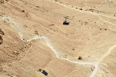 Cable way on Masada stronghold, Israel. Royalty Free Stock Photography