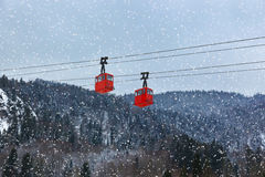 Cable way at mountains ski resort St. Gilgen - Austria Stock Photos