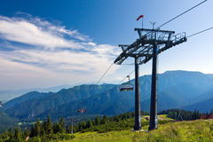 Cable way in the national park Low Tatras - Slovak Royalty Free Stock Image