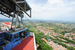 Cable way to Borgo Maggiore on San Marino Royalty Free Stock Photo