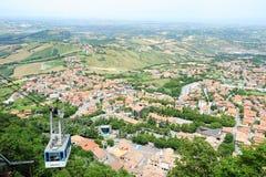 Cable way to Borgo Maggiore on San Marino Stock Image