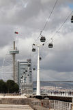 Cable Way and the Vasco Da Gama bridge in Nations Park in Lisbon, Portugal Stock Photos