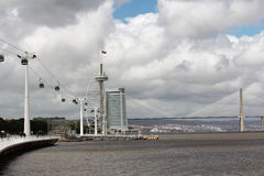 Cable Way and the Vasco Da Gama bridge in Nations Park in Lisbon, Portugal Royalty Free Stock Photography