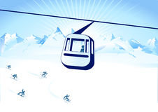 Cable-way and winter Stock Photography