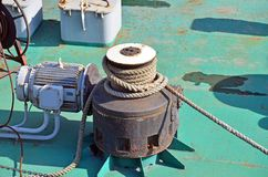 Cable winch of  floating crane Royalty Free Stock Images