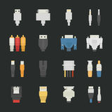 Cable wire computer icons with black background Stock Photos