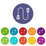 Cable wire computer set icons Stock Images