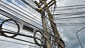 Cable and wires of Urban energy supply grid Stock Photos