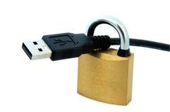 Cable y candado del USB Imagenes de archivo