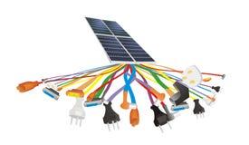 Cable y generación de energía solar Fotografía de archivo