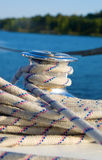 Cable on a yacht. On the river and the blue sky Royalty Free Stock Images