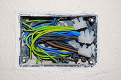 Cableado eléctrico expuesto imagenes de archivo