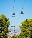 Cablecar över Barcelona, Spanien Arkivbild