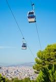 Cablecar över Barcelona, Spanien Royaltyfria Foton