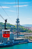 Cablecar over the port in Barcelona Royalty Free Stock Photography
