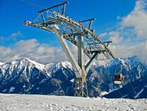 Cablecar ski lift in Alps Stock Photography