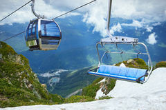 Cablecar View of Mountain, ski resort Rosa Khutor in Krasnaya Po Stock Photography