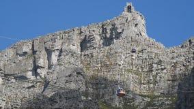 Cablecarril de la montaña de la tabla, ciudad de TownCape del cabo, África del sur 15 de agosto de 2016 almacen de metraje de vídeo