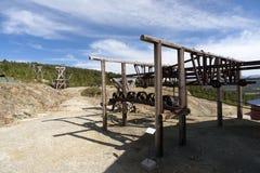 Cablecarril viejo de la explotación minera, mina de cobre, Folldal Fotografía de archivo
