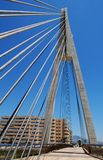 Cabled Bridge, Fuengirola, Andalusia, Spain. Cabled bridge across the Fuengirola river, Fuengirola, Costa del Sol, Malaga Province, Andalusia, Spain, Western Royalty Free Stock Images
