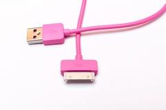 Cabler rosa del telefono cellulare immagini stock