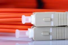 Cables ópticos de fibra imágenes de archivo libres de regalías
