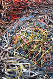 Cables. Messy pile of colorful cables royalty free stock photos