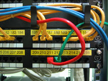 Cables. And Patch Panel Royalty Free Stock Images