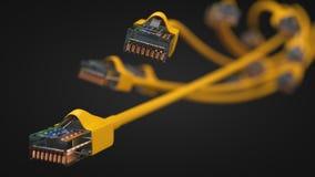 Cables amarillos de Internet el ejemplo conceptual 3d del cable de Ethernet y rj-45 tapan Fotografía de archivo