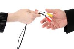 Cables audio-visuales Imágenes de archivo libres de regalías