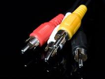 Cables audios y video fotos de archivo