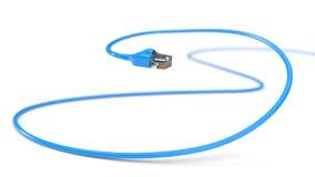 Cables azules de Internet el ejemplo conceptual 3d del cable de Ethernet y rj-45 tapan Imagen de archivo