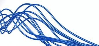 Cables azules fibroópticos Imágenes de archivo libres de regalías