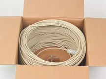 Cables in cardboard box Royalty Free Stock Photos