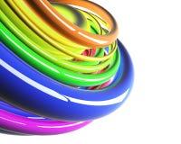 Cables coloridos en perspectiva sobre blanco Foto de archivo libre de regalías