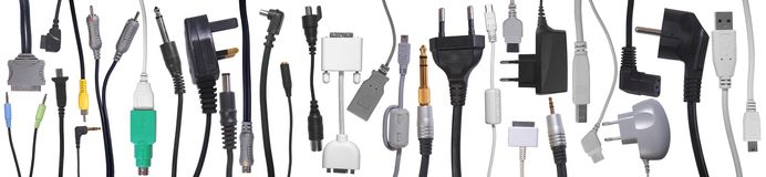 Cables, Connector and jacks collection Stock Images