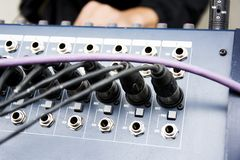 Cables on console music equipment Royalty Free Stock Image