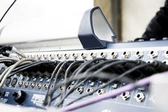 Cables on console music equipment Stock Photos